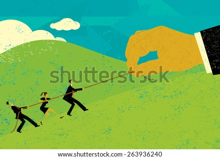 Tug of War A large hand of big business competing for market share with small business people in a tug-of-war battle.The people & hand and rope are on a separate labeled layer from background. - stock vector