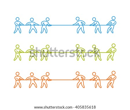 Tug of war label and symbol. Vector thin linear tug of war logo and icon.  - stock vector