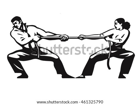 Tug of war. Man and woman are pulling rope. Business competitive concept. Couple fighting. Gender conflict. Psychology of relationships. Hand drawn sketch vector illustration isolated on white.