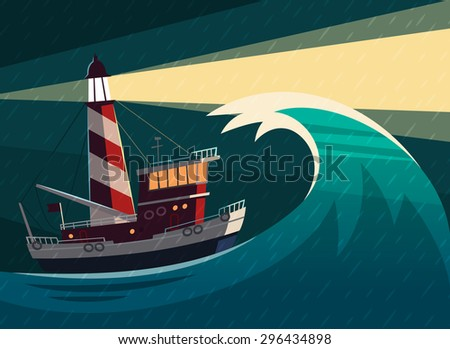 Tugboat with lighthouse on it during the storm. Vector illustration. - stock vector