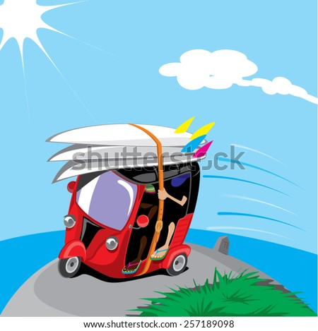 tuk tuk riding with surfboards - stock vector