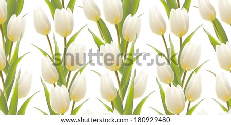 Tulip, floral background, seamless pattern. Vector illustration. - stock vector