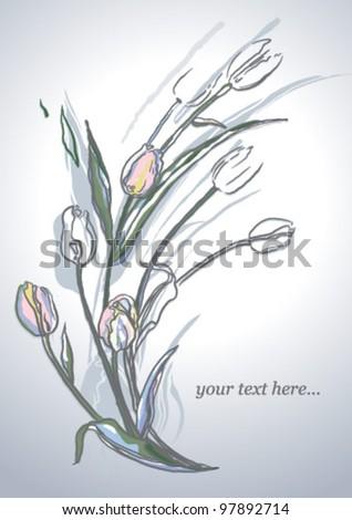 tulip flowers - vector background - stock vector