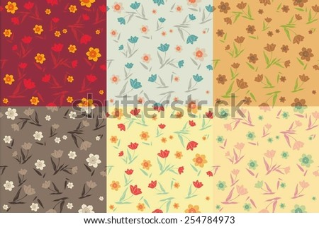 tulips and daffodils patterns vector