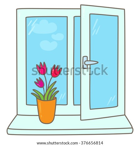 Tulips in a vase on a window sill  - stock vector