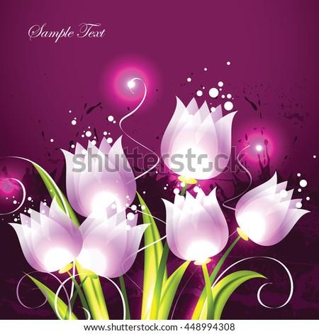 Tulips. Pink Vector Background. - stock vector