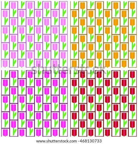 tulips seamless vector texture four colors