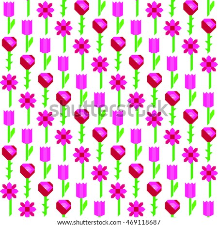tulips seamless vector texture pink line diagonal