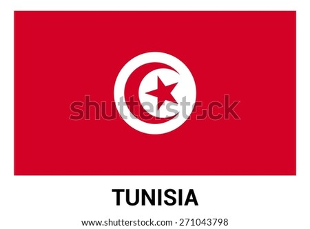 Tunisia flag isolated vector in official colors and Proportion Correctly. country's name label in bottom - stock vector
