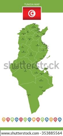 Tunisia Map - stock vector