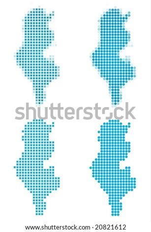 Tunisia map mosaic set. Isolated on white background. - stock vector