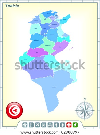 Tunisia Map with Flag Buttons and Assistance & Activates Icons Original Illustration - stock vector