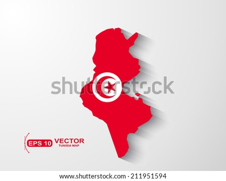 Tunisia map with shadow effect - stock vector