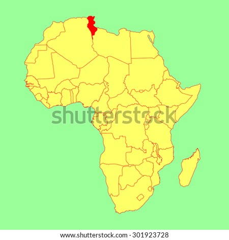 Tunisia vector map isolated on Africa map. Editable vector map of Africa. - stock vector