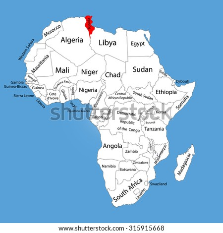 Tunisia vector map silhouette isolated on Africa map. Editable vector map of Africa. - stock vector