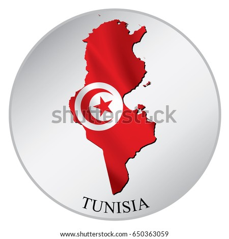 Tunisia vector sticker with flag and map label round tag with country name
