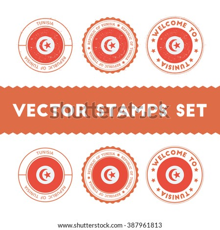 Tunisian Flag Rubber Stamps Set. Tunisian Flag Grunge Stamps. Tunisian Flag Round Signs. Tunisian Flag Badges Set.