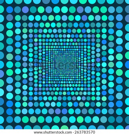 Tunnel of circles receding into the distance of the picture. Multicolored backdrop for endless threads. Blue and green tones. Vector illustration. - stock vector