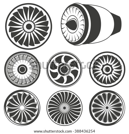 turbine icons set, airplane engine icons, jet engine icons - stock vector