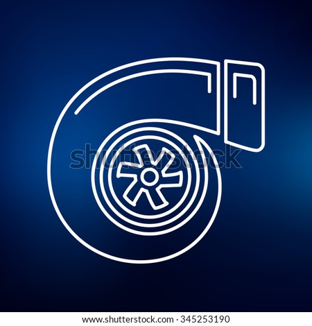 Turbo icon. Turbocharger sign. Vehicle performance symbol. Thin line icon on blue background. Vector illustration. - stock vector