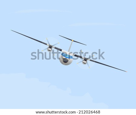 Turboprop airplane in flight. Vector illustration. EPS10. Opacity.