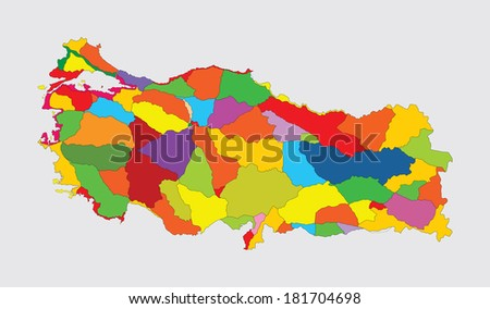 Turkey administrative vector map isolated on gray background. High detailed illustration .  - stock vector