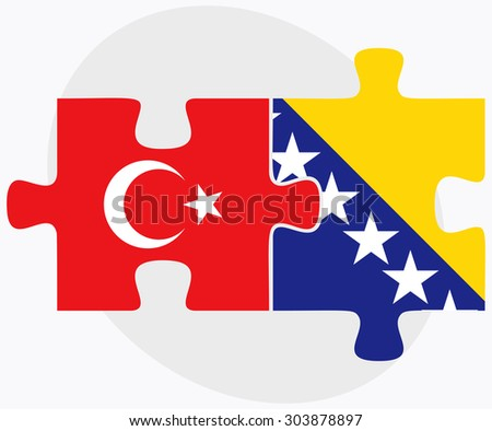 Turkey and Bosnia and Herzegovina Flags in puzzle  isolated on white background