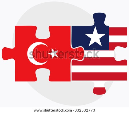 Turkey and Liberia Flags in puzzle isolated on white background