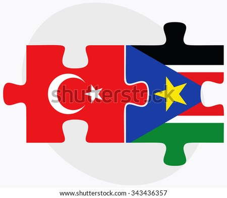 Turkey and South Sudan Flags in puzzle isolated on white background