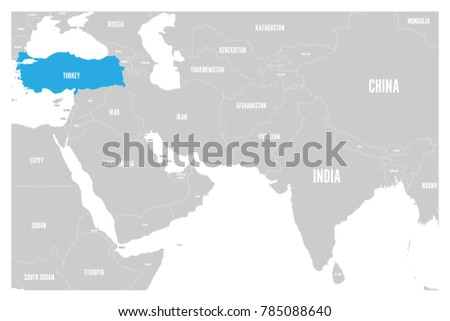 Simple World Map Flat. Turkey blue marked in political map of South Asia and Middle East  Simple flat vector Blue Marked Political Map Stock Vector 785088640