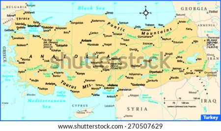 Turkey Country Map Stock Vector 270507629 - Shutterstock