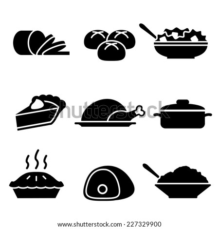 Turkey Dinner Icons - stock vector