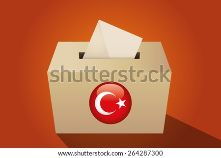 Turkey election ballot box for collecting votes, orange background - stock vector