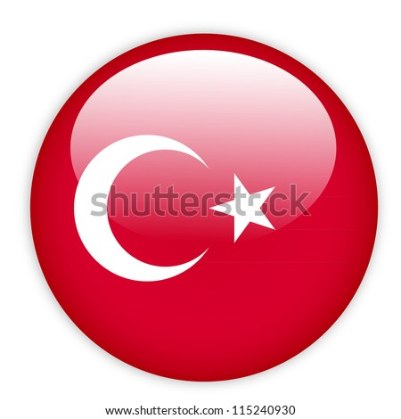 Turkey flag button on white - stock vector
