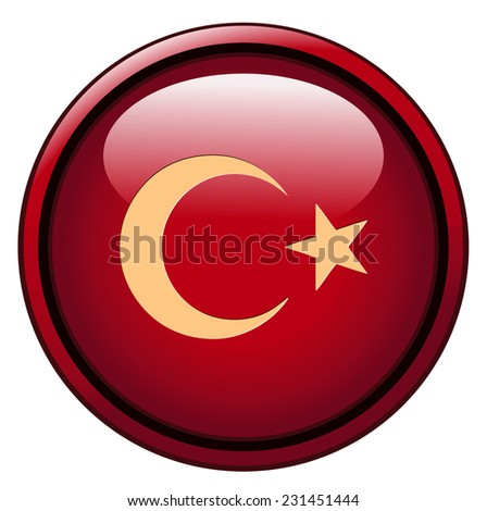 Turkey Flag Button, Vector Illustration isolated on White Background.  - stock vector