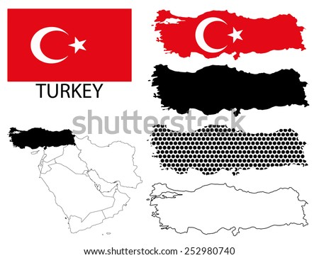 Turkey - Flag, four vector map contours and Middle East map - stock vector