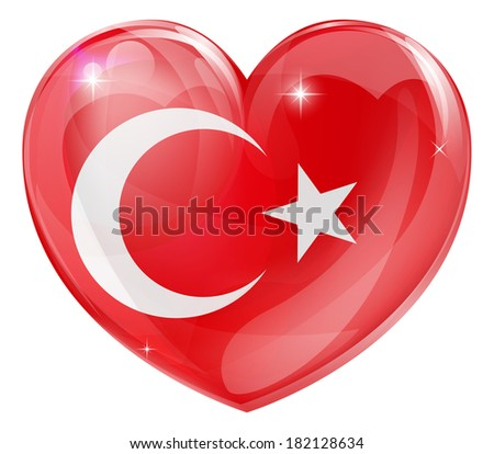 Turkey flag love heart concept with the Turkish flag in a heart shape