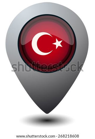 Turkey Flag Map Marker, Vector Illustration isolated on White Background.  - stock vector