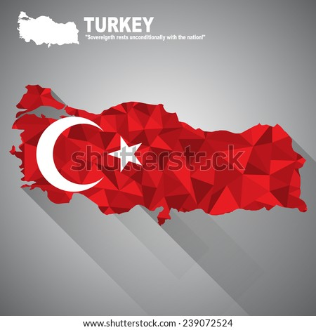 Turkey flag overlay on Turkey map with polygonal and long tail shadow style (EPS10 art vector) - stock vector