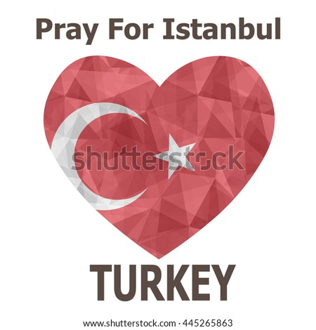 Turkey Flag Shape Heart Geometric Rumpled Stock Photo Photo Vector