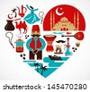 Turkey - heart with a lot of vector icons and illustrations - stock