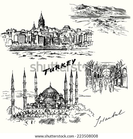 Turkey, Istanbul - hand drawn set - stock vector