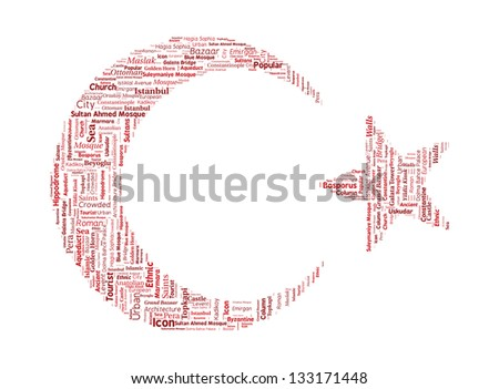 Turkey Istanbul Word Cloud inside Crescent and Star Shapes - stock vector