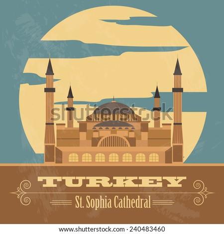 Turkey landmarks. Retro styled image. Vector illustration - stock vector