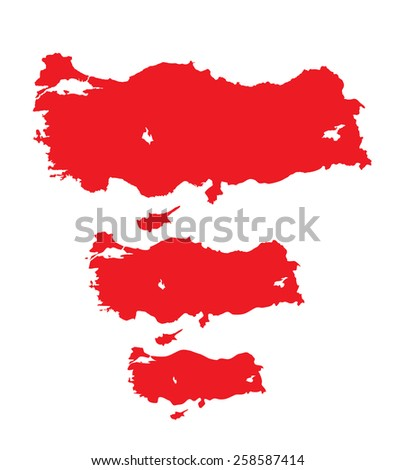 Turkey map in three different details - stock vector