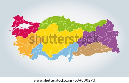 Turkey Map, 7 Regions Vector Background On White