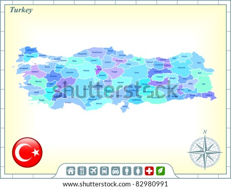 Turkey Map with Flag Buttons and Assistance & Activates Icons Original Illustration - stock vector