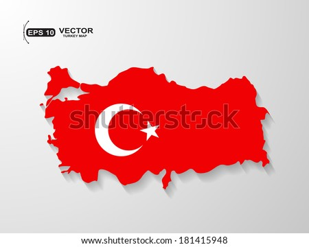 Turkey map with shadow effect - stock vector