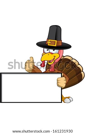 Turkey Mascot - Holding A Blank Sign - stock vector