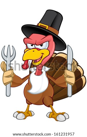 Turkey Mascot - Holding A Knife & Fork